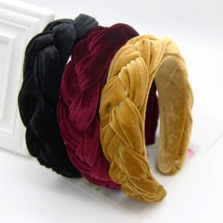 bezel headband - twist braid women's hair hoop - gold velvet cloth thickening hair accessories