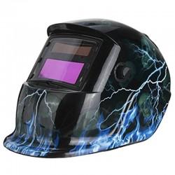 Welding helmet - auto darkening - adjustable - solar - blue flash / skull