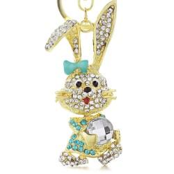 Gold & crystal bunny rabbit keychain