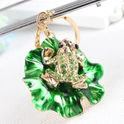 Frog on green lotus leaf - crystal decorated keychain