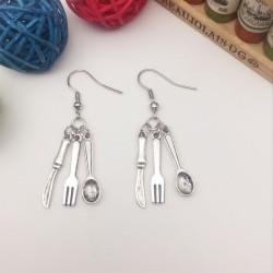 quirky earring - knife fork & spoon cutlery earring