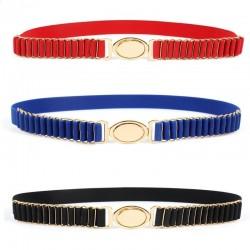 Elegant elastic belt with gold round buckle