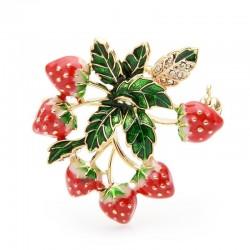 Strawberries with leaves - an elegant crystal brooch