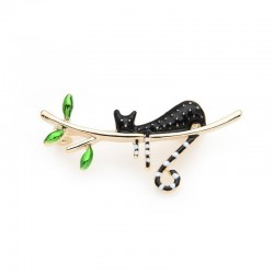 black cat sleeping on the tree enamel brooches