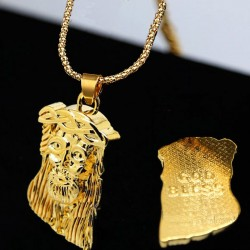A piece of the face of Jesus - gold necklace
