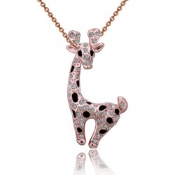 Stainless steel necklace with crystal giraffe
