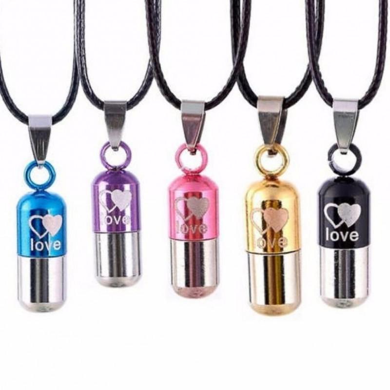 LOVE - capsule shape pendant - necklace