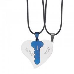 2-piece Heart Key Necklace - Blue/Gold/Silver/Black