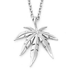 Necklace with hemp leaf pendant