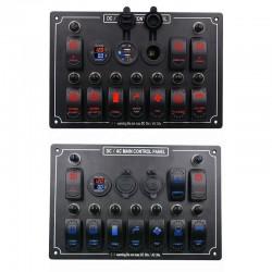 Rocker switch panel - 12V - 10-gang - LED - cigarette lighter - waterproof for car - boat - truck