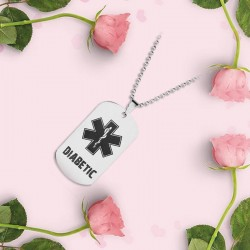 Medical alert - DIABETIC - stainless steel necklace