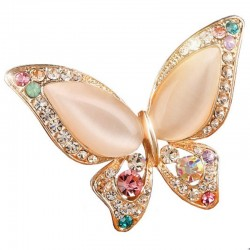 Peach Rhinestone Butterfly Brooches