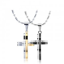 Unique cross necklace - gold - black - unisex