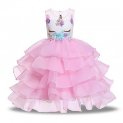 Girls Unicorn dress with flowers - headband - wings - costume