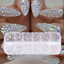 12 boxes / set - AB crystal - rhinestone - diamond gem - glitter - nail art