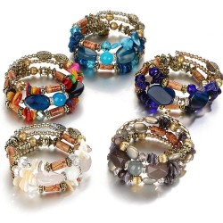 Multi-layer bracelet with resin stones - vintage - ethnic bracelet