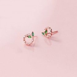 Small circles & leaves - rose gold / silver stud earrings - 925 sterling silver