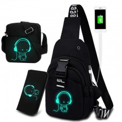 Luminous chest / shoulder bag - backpack - USB charging port