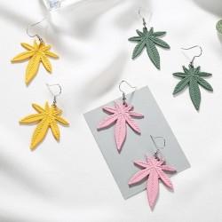 Hemp Leaves - Dangle Earrings - Geometric Drop Earrings