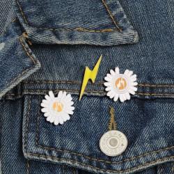 Lightning Daisy - Enamel Pins - Brooches