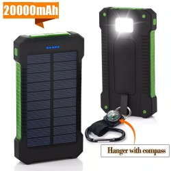 20000mAh solar powered power bank - dual USB - waterproof - external battery