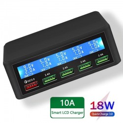 USB - 40W - 3.0 quick charger - Led display - 5-ports charging station