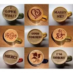 Coffee decoration - plastic stencil - 16 pieces