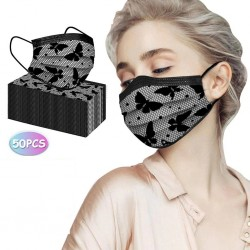 50 pieces - disposable antibacterial face / mouth masks - 3-layer - lace design