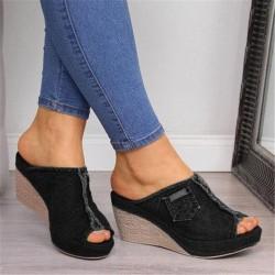 High Heels - Denim Slippers - Black - Blue