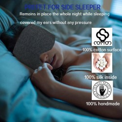 Silk - Sleeping Mask - Travel - Grey - Black