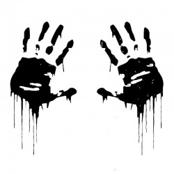 Zombie bloody hands - car sticker