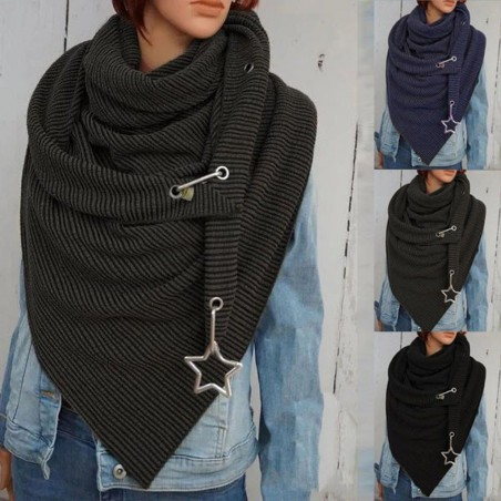 Multi-purpose shawl with metal star - scarf with buttons / dots