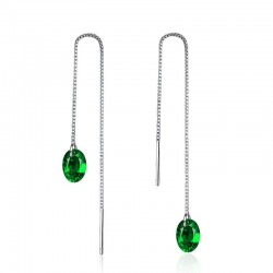 Long silver earrings with green zirconia