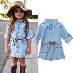 Denim buttoned up long sleeve for kids