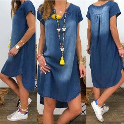 Short sleeve denim dress - v neck