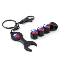 Russian flag logo - car valve caps with wrench & keychain - 4 pieces