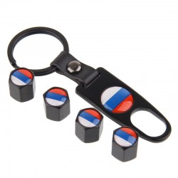 Russian flag - car valve caps - 4 pieces set