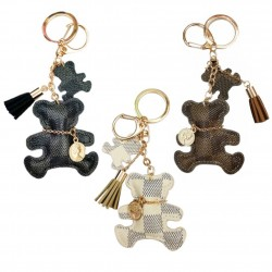 Cute bear keyring - faux leather
