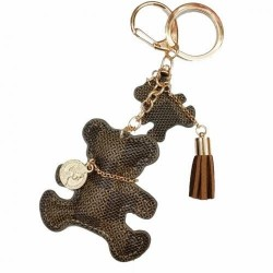 Cute bear keyring - faux leather