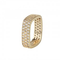 Elegant crystal square ring