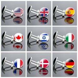 National flag - round glass cufflinks - with box
