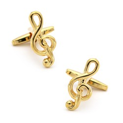 Musical notes cufflinks - stainless steel - gold / silver