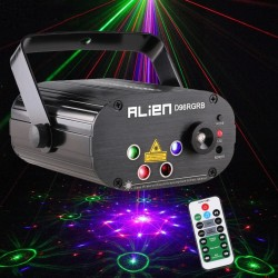 Mini stage light - laser projector - with remote - RGB - LED - 96 patterns