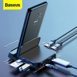 Baseus - docking station - charger with stand - type-C HUB to HDMI - for Samsung S20 S10 / Huawei P30