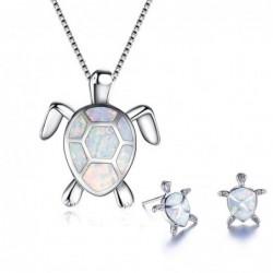 Elegant necklace / earrings with sea turtle - jewellery set