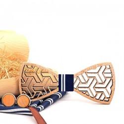 Vintage bow tie / handkerchief / cufflinks - wooden set