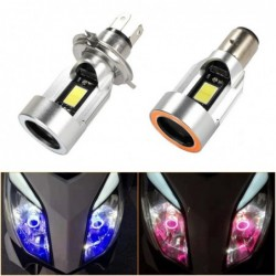 Motorcycle light bulb - Angel Eye LED - red / blue - H4 / BA20D
