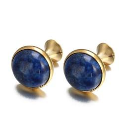 Luxurious round cufflinks - with blue lapis stone