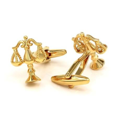 Elegant gold cufflinks - libra scale of justice