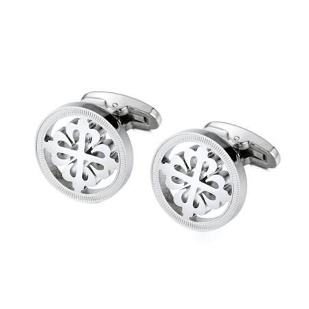 Elegant silver round cufflinks - crusaders - stainless steel